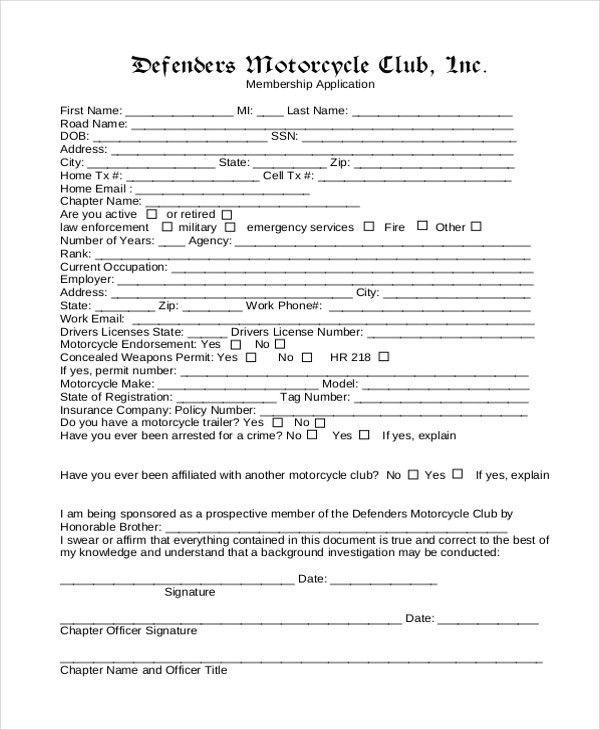 12+ Sample Membership Application Forms | Sample Forms