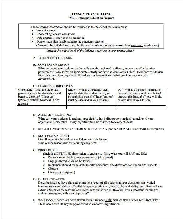 Lesson Plan Outline Template – 10+ Free Free Word, PDF Format ...