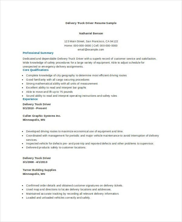 7+ Truck Driver Resumes - Free Sample, Example, Format | Free ...