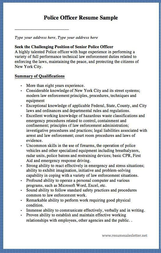 Police Officer Resume. Police Officer Resume Sample Best 25+ .