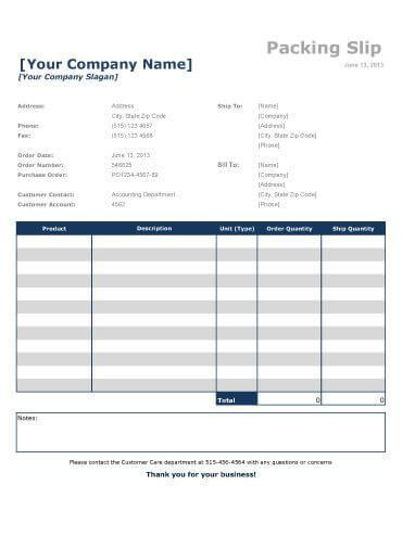 Packing Slip Example Free Packing Slip Template For Excel And