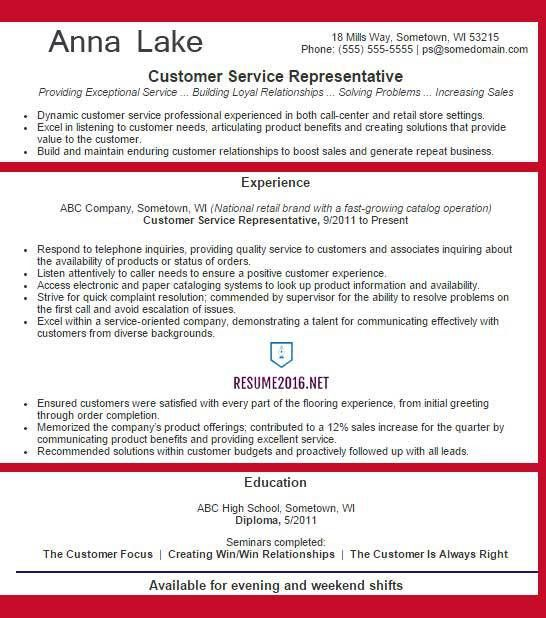 service representative resume example 2016