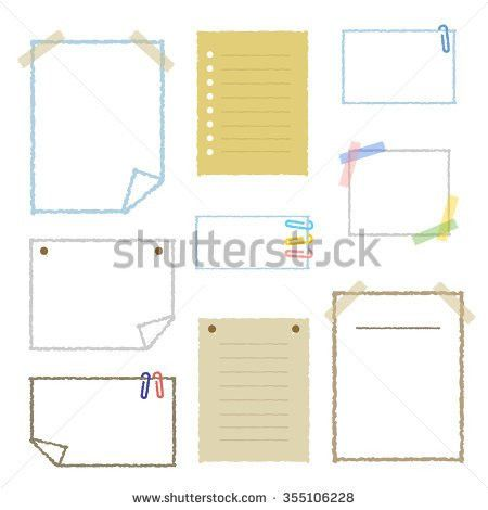 Collection Realistic Note Paper Vector Stock Vector 134693480 ...