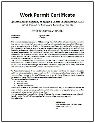 simple work permit certificate | Microsoft Word Templates