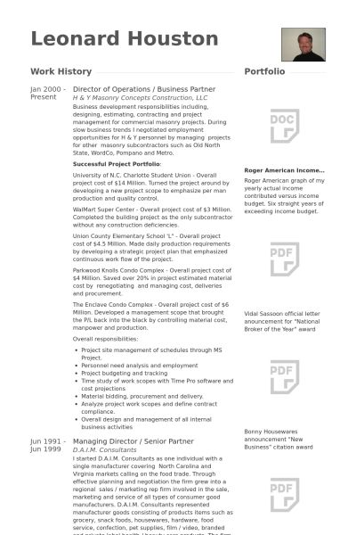 Director Of Operations Resume samples - VisualCV resume samples ...