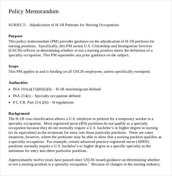 Policy Memo Template-11+ Free Word, PDF Documents Download | Free ...