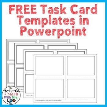FREE Task Card Templates in Powerpoint by Science With Mrs Lau | TpT