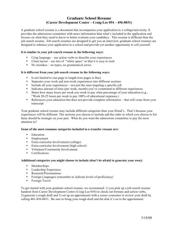 Graduate School Application Resume Template. School Resume ...