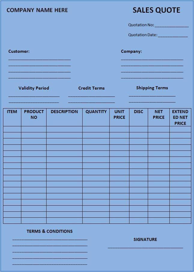 Sales Quotation Template | Free Printable Word Templates,