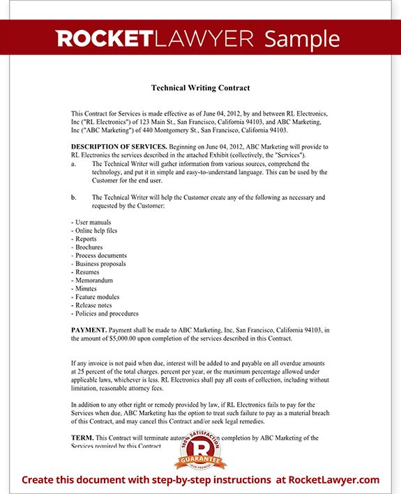 Technical Writing Contract Agreement (Form With Sample)