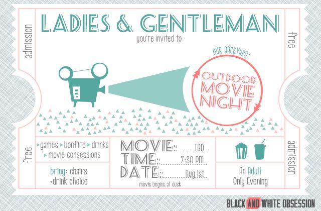 Free Customizable Movie Night Invitation | The Happier Homemaker