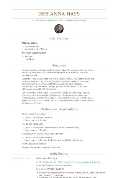 Associate Attorney Resume samples - VisualCV resume samples database
