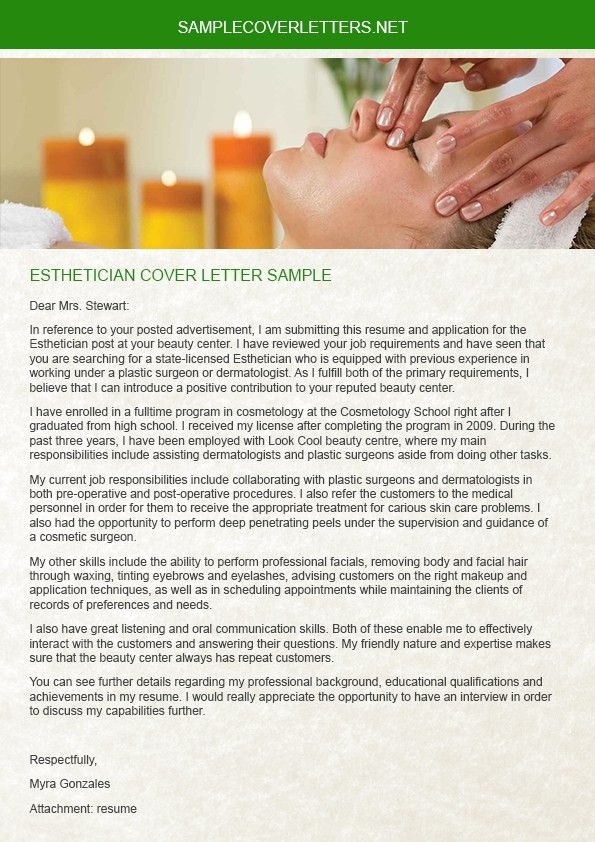 Esthetician Cover Letter Sample | Sample Cover Letters
