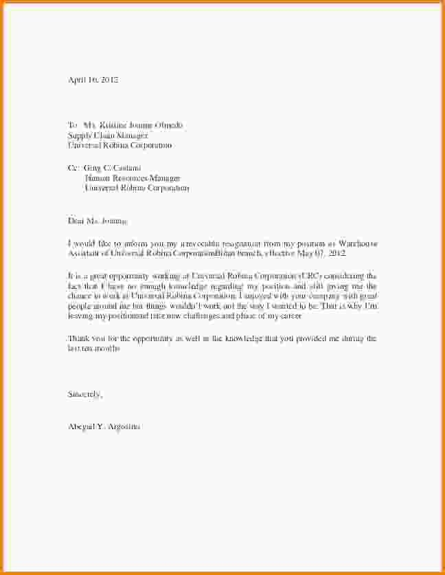 6+ sample resignation letter template | Letter Template Word