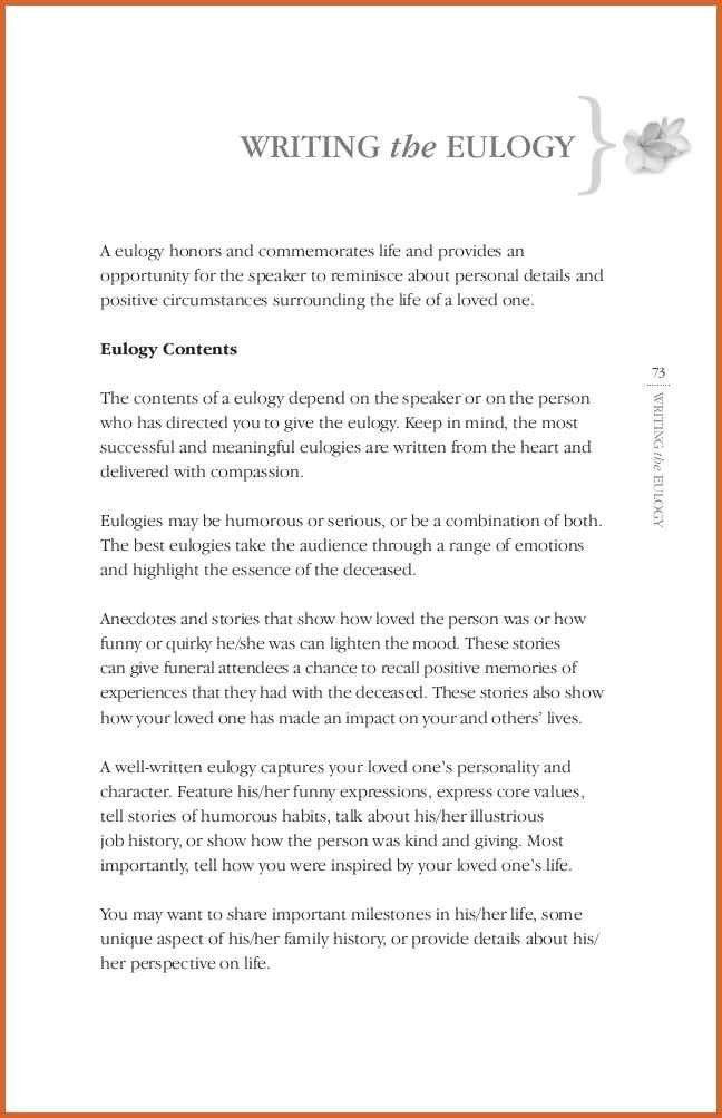 Funeral Eulogy Template - Contegri.com