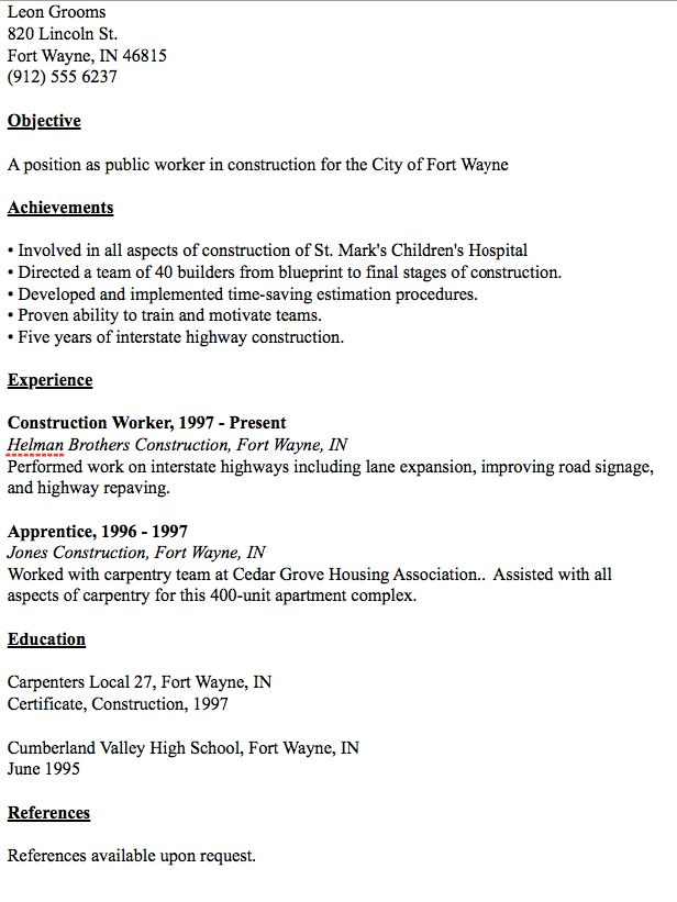 Public Worker Resume Example - http://resumesdesign.com/public ...