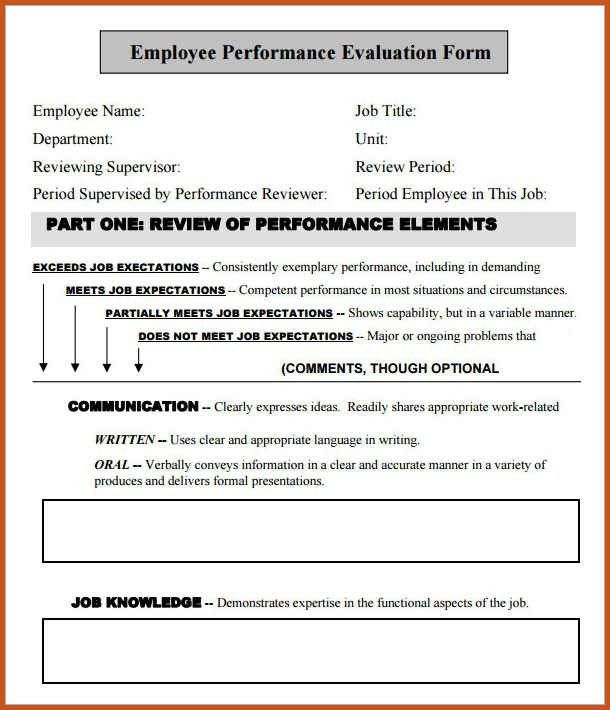 employee evaluation form | sop example