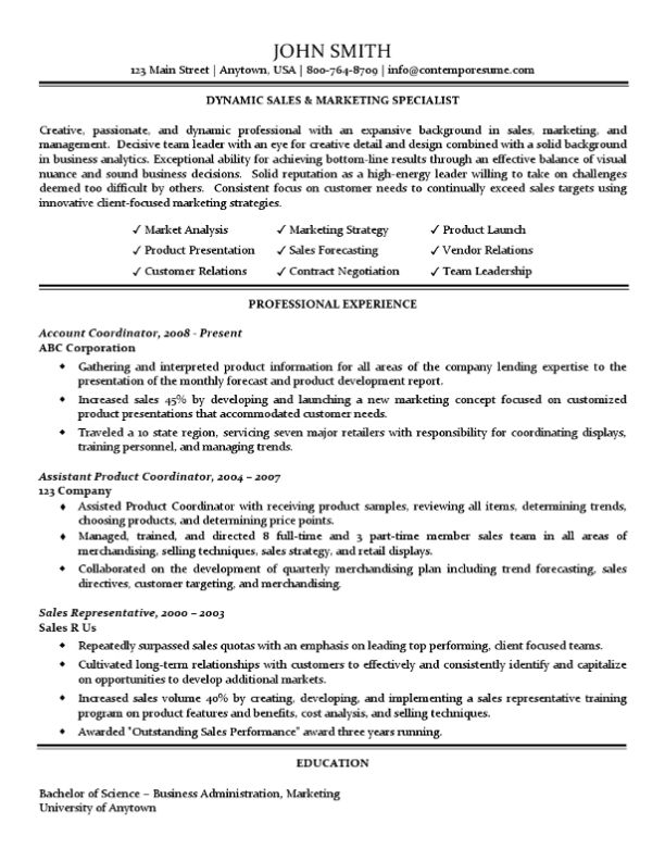 & Marketing Specialist Resume (Traditional Standard Format)