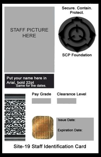 SCP Foundation ID Card Template by generalpurposegeek on DeviantArt