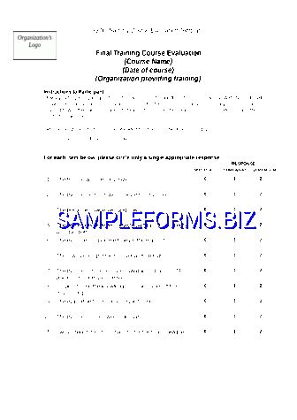 Training Evaluation Form templates & samples
