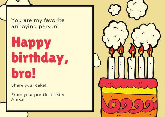 Red and Yellow Brother Birthday Card - Templates by Canva