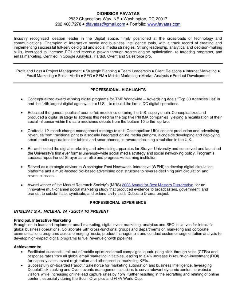 Resume: Content Marketing, Digital and Social Media Marketing, Commun…