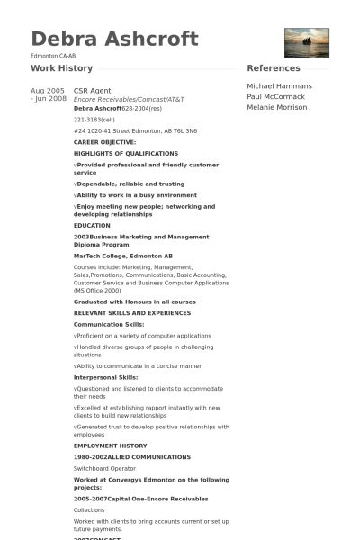 Csr Resume samples - VisualCV resume samples database