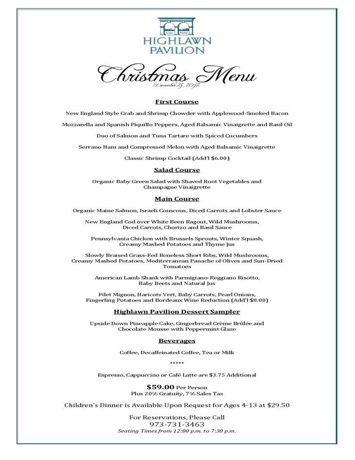 Christmas Dinner Menu Template Free Download