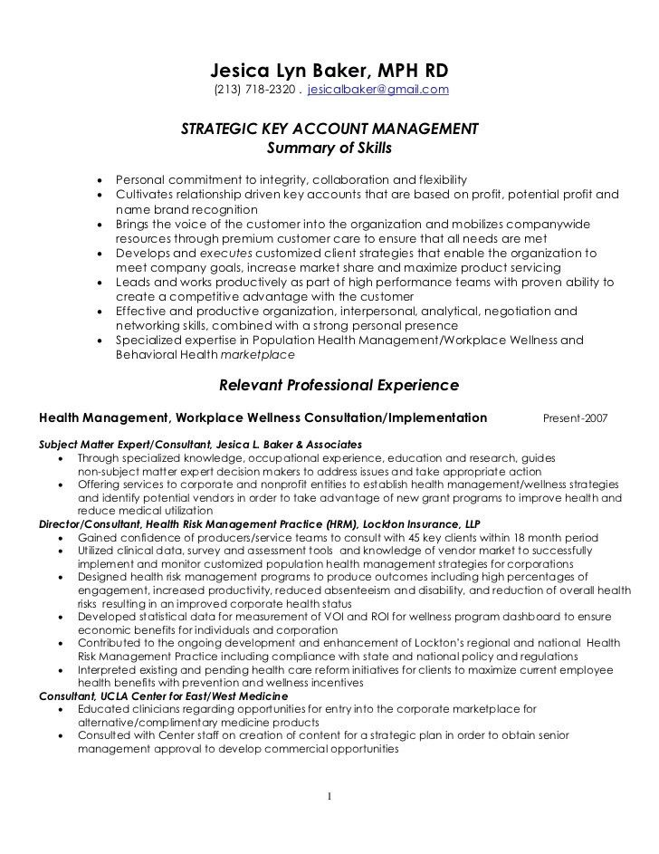 Strategic Key Account Management Resume 4 7 2011