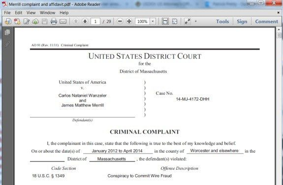 BULLETIN: Merrill, Wanzeler Charged With Wire-Fraud Conspiracy ...