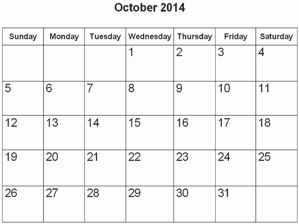 October 2014 Calendar Printable & Template http://www.calendarvip ...