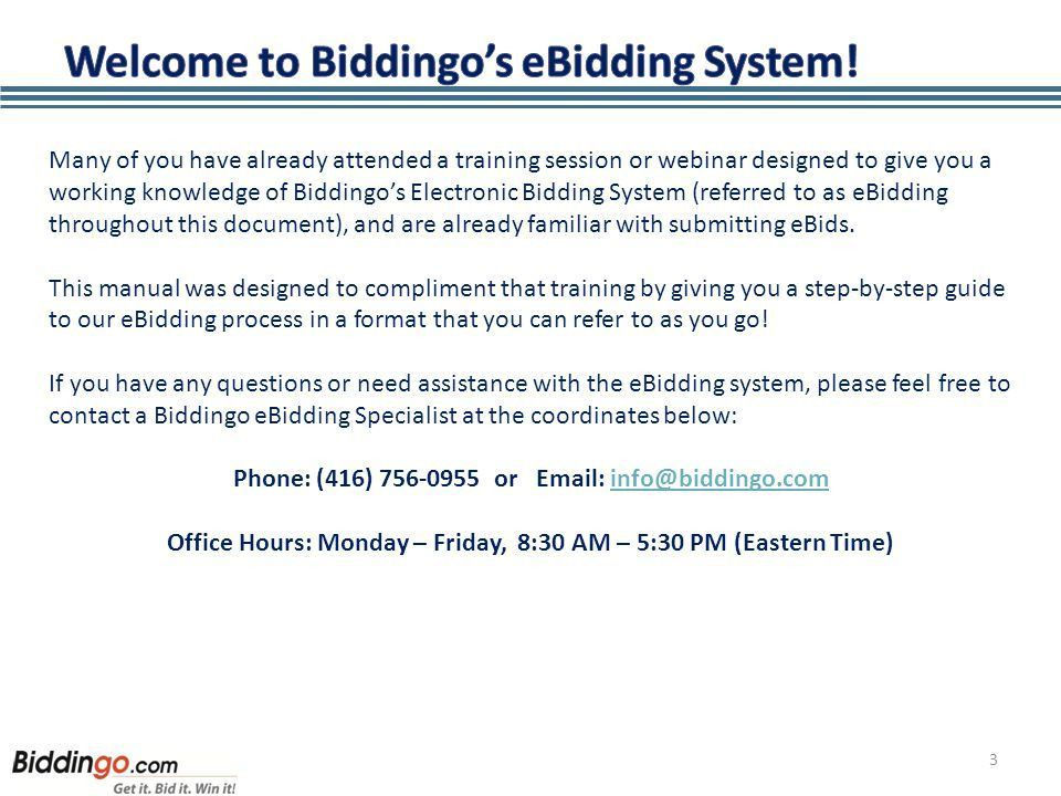 INSTRUCTIONAL MANUAL FOR SUPPLIERS 1. 2 Welcome to Biddingo's ...