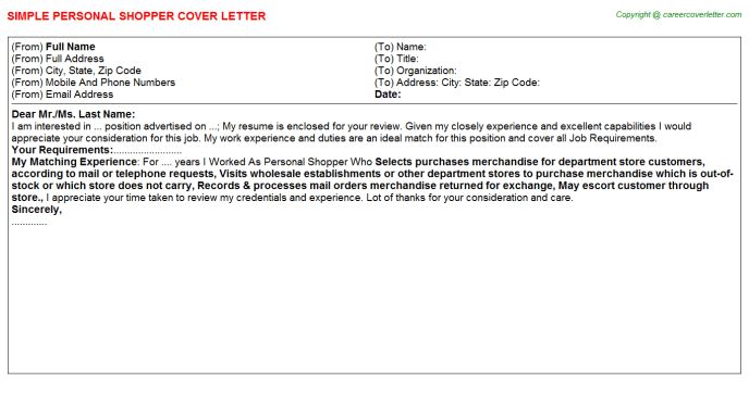 Personal Shopper Cover Letter