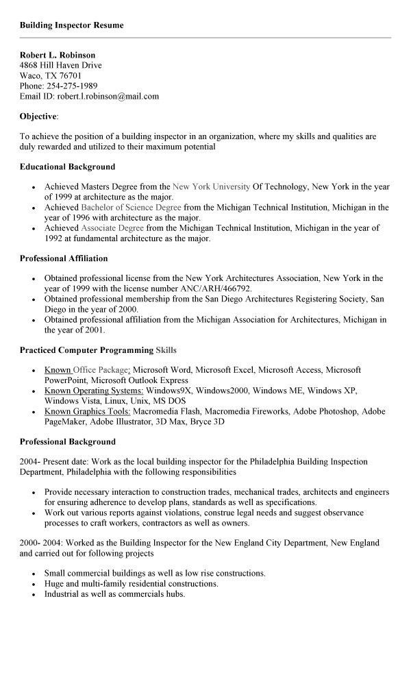 Property Inspector Resume Professional Home Templates