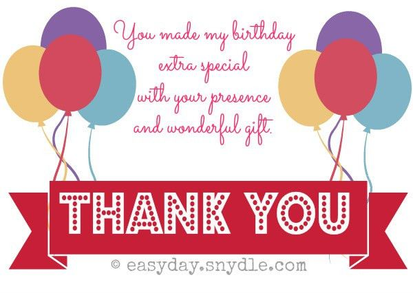 cute sample thank you card for birthday gift modern designing ...