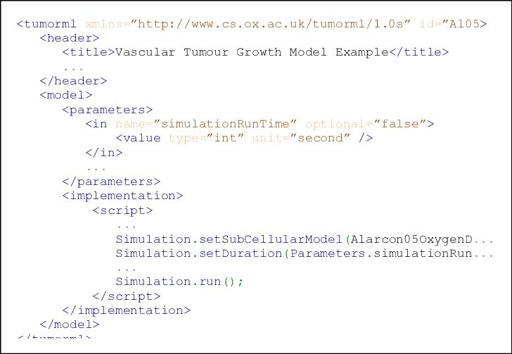 An example of DSL script embedded within a TumorML document ...
