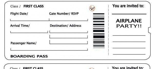 Template Airline Ticket. plane ticket invitation template airline ...