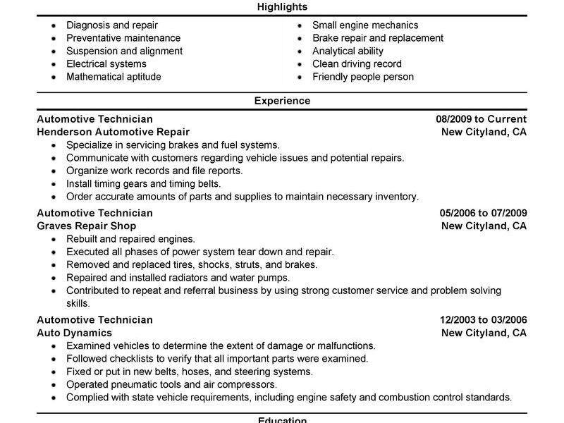 Stupefying Automotive Technician Resume 7 Best Automotive ...