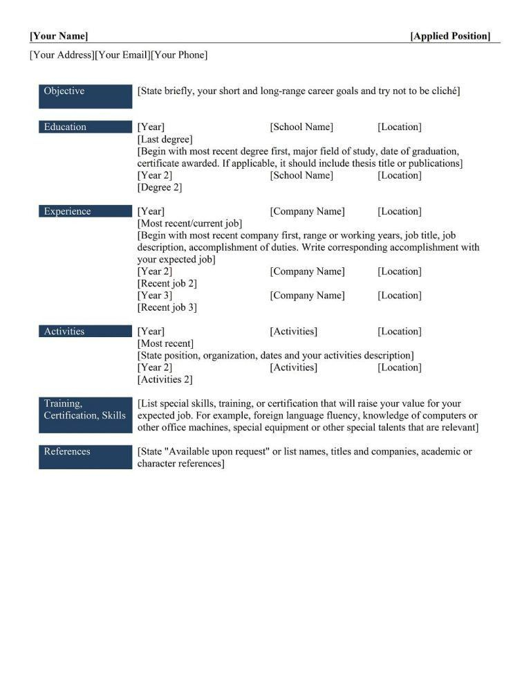 different types of resume format different resume formats 1