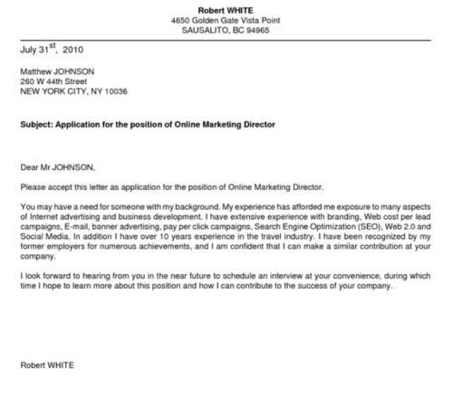 cover letter unsolicited