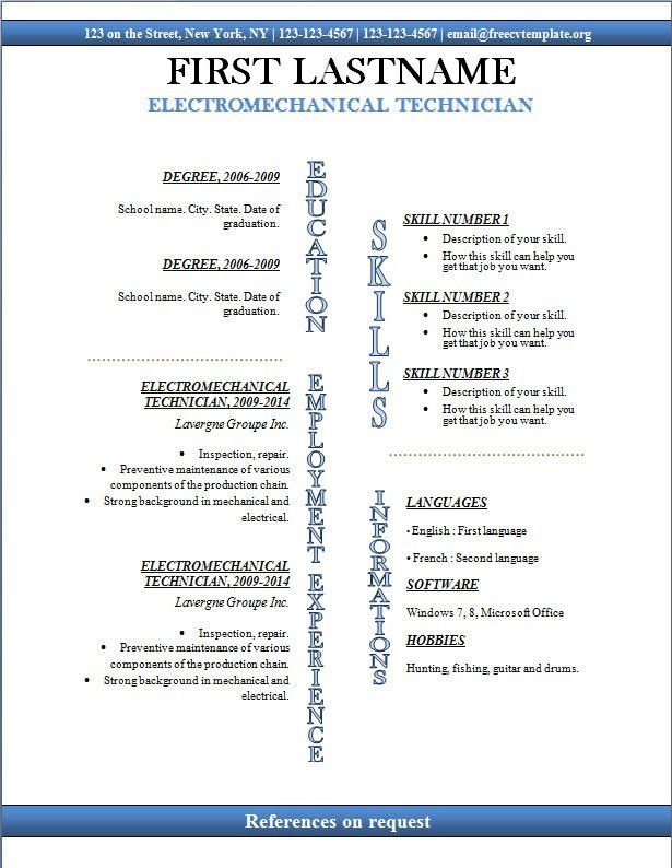 free resume template microsoft word. windows resume templates ...