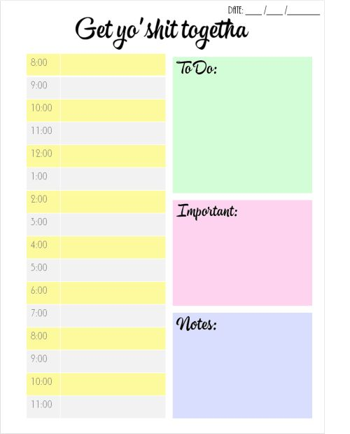 "studyforgreatness: "" FREE DAILY PLANNER PRINTABLE Hey guys! I made ..."