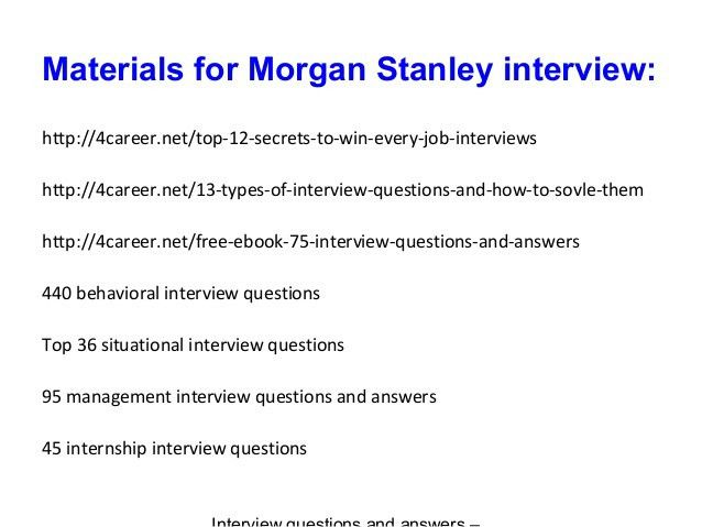 Morgan stanley interview questions and answers