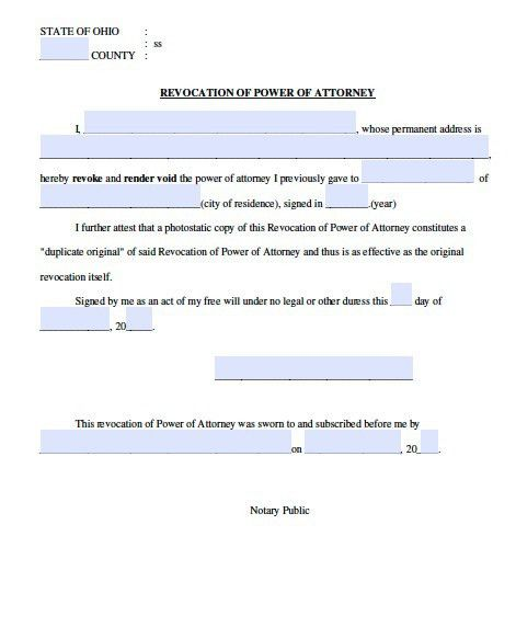 Free Revocation Form for Ohio Power of Attorney – Adobe PDF