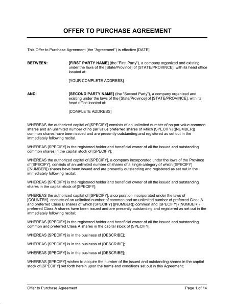 Offer to Purchase Shares Agreement - Template & Sample Form ...