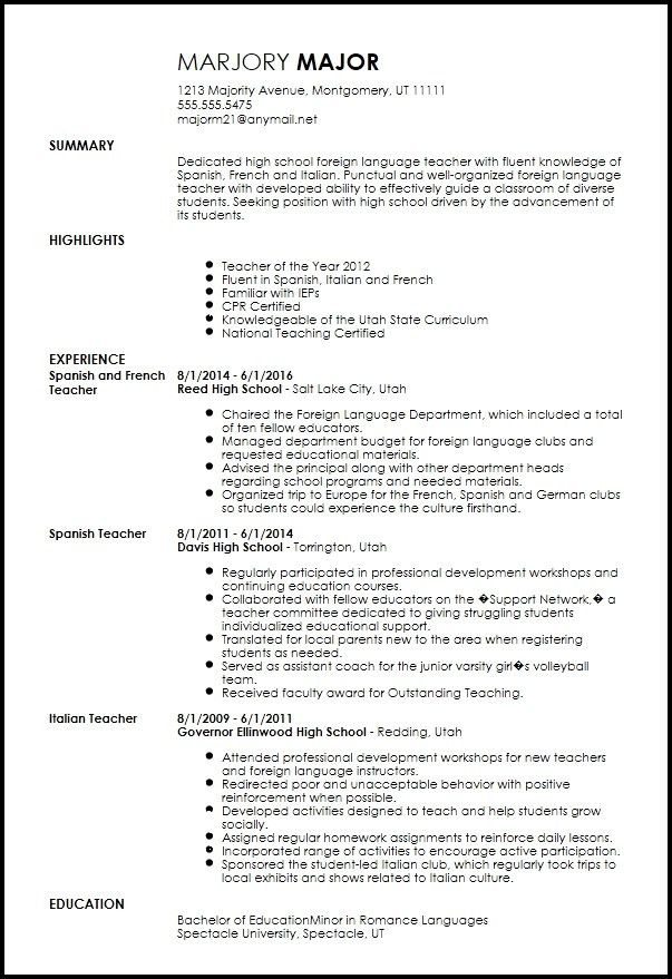 Foreign Language Teacher Resume - Best Resume Collection