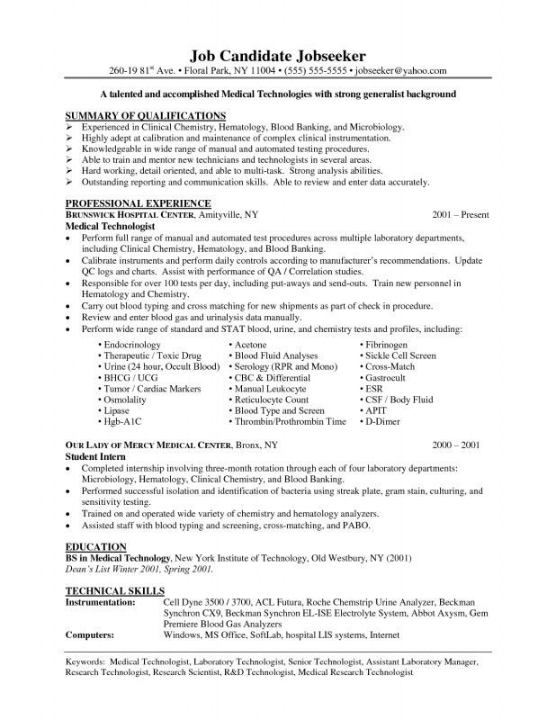 Download Lab Tech Resume | haadyaooverbayresort.com