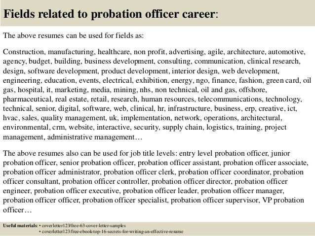 Parole Cover Letter Probation And Officer