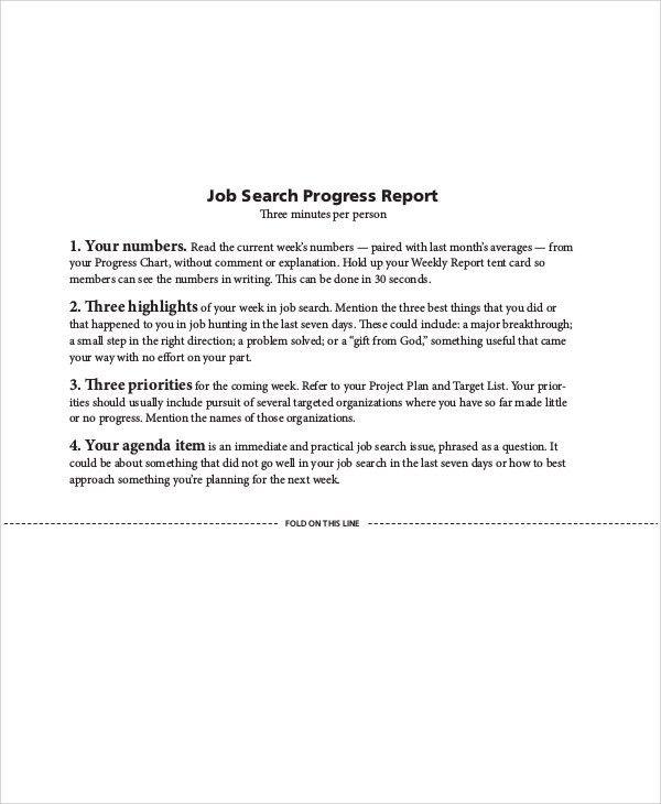 Sample Job Progress Report - 6+ Examples in Word, PDF
