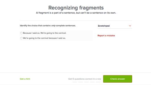 Recognizing fragments (video) | Khan Academy